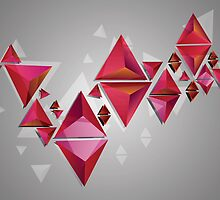 Red 3d Triangles 2 by AnnArtshock