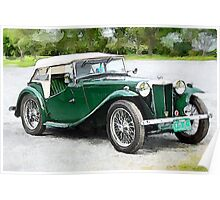 1949 MG TC Roadster watercolour Poster