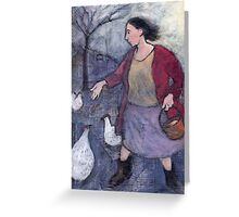Woman feeding chickens Greeting Card