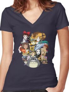 Studio Ghibli Collage Women's Fitted V-Neck T-Shirt