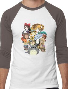 Studio Ghibli Collage Men's Baseball ¾ T-Shirt