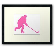Pink Hockey Player Framed Print