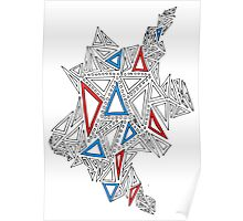 Triangles Design 2 Red and Blue Poster
