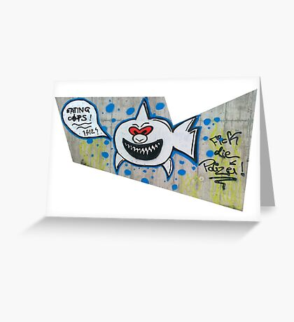 shark eating cops Greeting Card