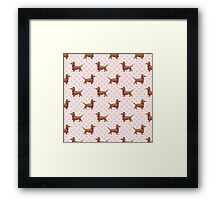 Watercolor Dachshund Pattern Framed Print