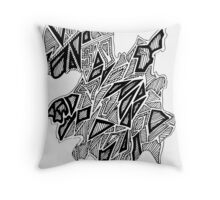 Triangles Design 4 Black Filled Throw Pillow