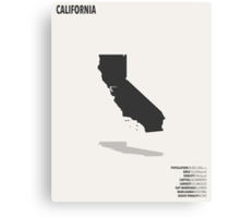 California Minimalist State Map with Stats Canvas Print