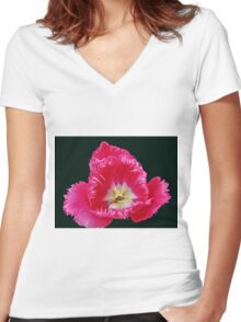 Pink Frilled Tulip on Black Background Women's Fitted V-Neck T-Shirt