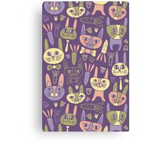 Funny Bunnies Violet Canvas Print