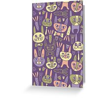 Funny Bunnies Violet Greeting Card