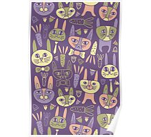 Funny Bunnies Violet Poster
