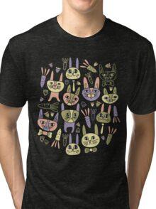 Funny Bunnies Violet Tri-blend T-Shirt