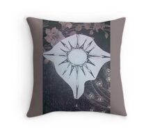 Peacock Feather and Flower Sun Throw Pillow