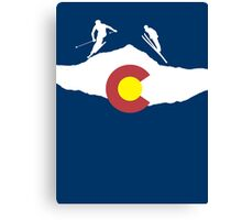 Colorado flag and skiing on mountain slopes Canvas Print
