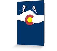 Colorado flag and skiing on mountain slopes Greeting Card