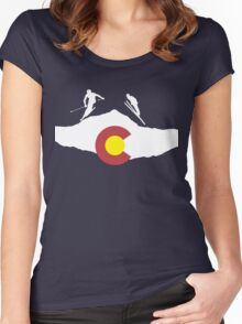 Colorado flag and skiing on mountain slopes Women's Fitted Scoop T-Shirt