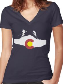 Colorado flag and skiing on mountain slopes Women's Fitted V-Neck T-Shirt