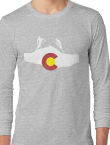 Colorado flag and skiing on mountain slopes Long Sleeve T-Shirt