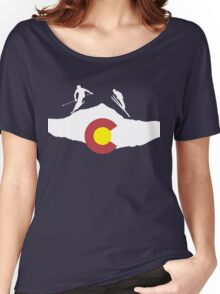 Colorado flag and skiing on mountain slopes Women's Relaxed Fit T-Shirt
