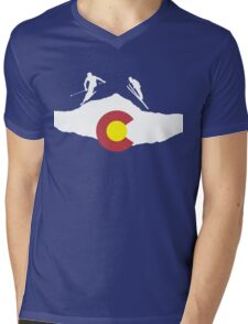 Colorado flag and skiing on mountain slopes Mens V-Neck T-Shirt