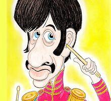 Pop Rock Drummer Caricature Drawing 1960s by MMPhotographyUK