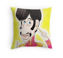 Pop Rock Drummer Caricature Drawing 1960s Throw Pillow