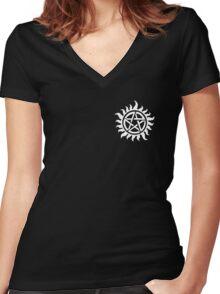 Supernatural Demon Possession Protection (Badge Version) [WHITE] Women's Fitted V-Neck T-Shirt