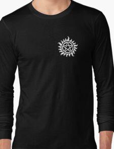 Supernatural Demon Possession Protection (Badge Version) [WHITE] Long Sleeve T-Shirt