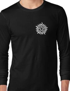 Supernatural Demon Possession Protection (Badge Version) [WHITE] Long Sleeve T-Shirt