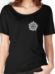 Supernatural Demon Possession Protection (Badge Version) [WHITE] Women's Relaxed Fit T-Shirt
