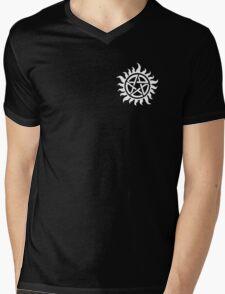 Supernatural Demon Possession Protection (Badge Version) [WHITE] Mens V-Neck T-Shirt