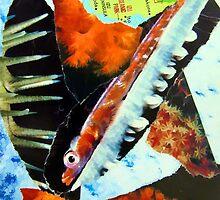 Japan's Izu Oceanic Park torn paper collage by JoAnnFineArt