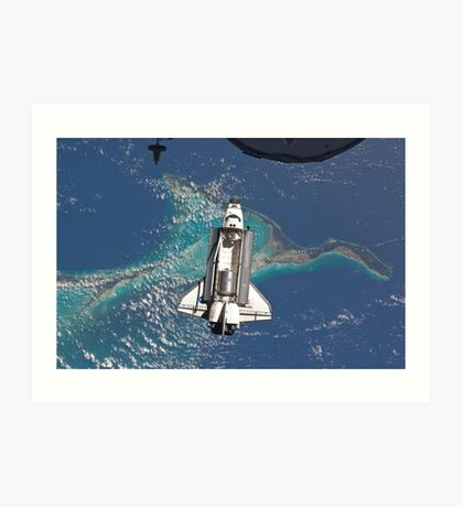 The Space Shuttle in Orbit Around The Earth - As seen from the ISS Art Print