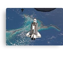 The Space Shuttle in Orbit Around The Earth - As seen from the ISS Canvas Print