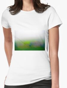 Motion blurred green landscape abstract Womens Fitted T-Shirt