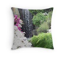 Waterfall With Azaleas Throw Pillow