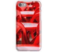 Red abstract with chairs iPhone Case/Skin