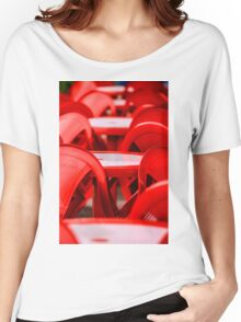 Red abstract with chairs Women's Relaxed Fit T-Shirt