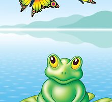 FROG  AND  BUTTERFLIES by James Oliver