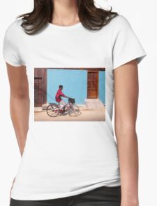 Cyclist in Kochi, India Womens Fitted T-Shirt
