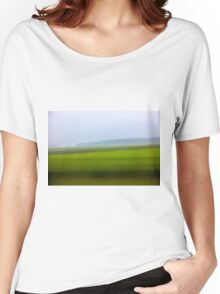 Motion blurred green landscape abstract Women's Relaxed Fit T-Shirt