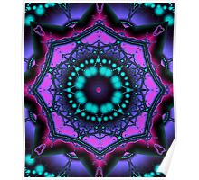 Kaleidoscope abstract in purple, pink and turquoise Poster