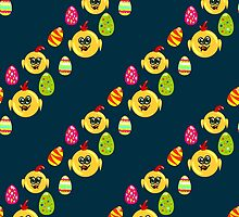 Easter seamless pattern with eggs and chicks on the darck background by Ann-Julia