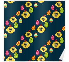 Easter seamless pattern with eggs and chicks on the darck background Poster