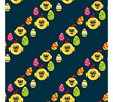 Easter seamless pattern with eggs and chicks on the darck background Photographic Print