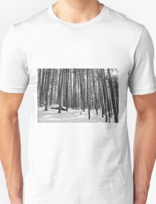 Winter Trees, Black and White Unisex T-Shirt
