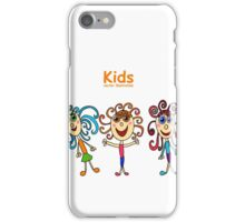 little curly girl hand-drawn on a white background, isolated iPhone Case/Skin