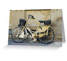Yellow Bicycle in Copenhagen, Denmark Greeting Card