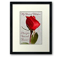One red rose Valentine card Framed Print