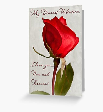 One red rose Valentine card Greeting Card